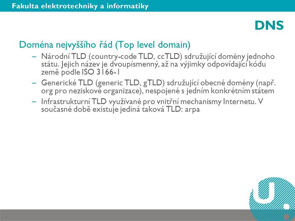 DNS Doména nejvyššího řád (Top level domain) –Národní TLD (country-code TLD, ccTLD) sdružující domény jednoho státu.