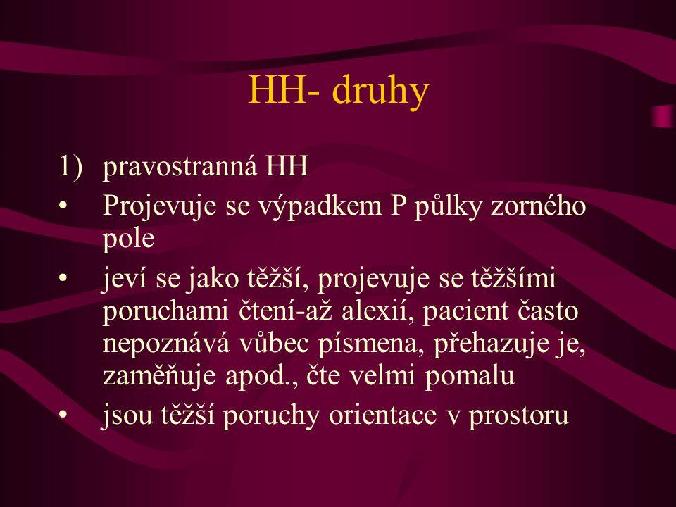 HH- druhy 1)pravostranná HH Projevuje se výpadkem P půlky zorného pole jeví se jako těžší, projevuje se těžšími poruchami čtení-až alexií, pacient čas