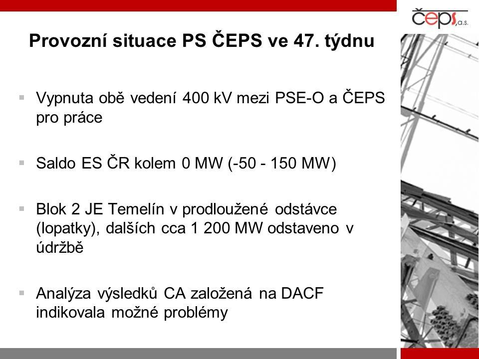 Provozní situace PS ČEPS ve 47. týdnu  Vypnuta obě vedení 400 kV mezi PSE-O a ČEPS pro práce  Saldo ES ČR kolem 0 MW (-50 - 150 MW)  Blok 2 JE Teme