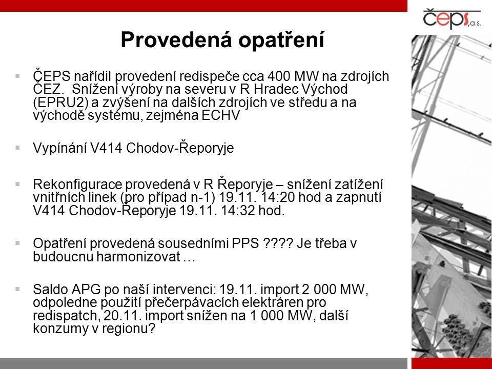 Provedená opatření  ČEPS nařídil provedení redispeče cca 400 MW na zdrojích ČEZ. Snížení výroby na severu v R Hradec Východ (EPRU2) a zvýšení na dalš