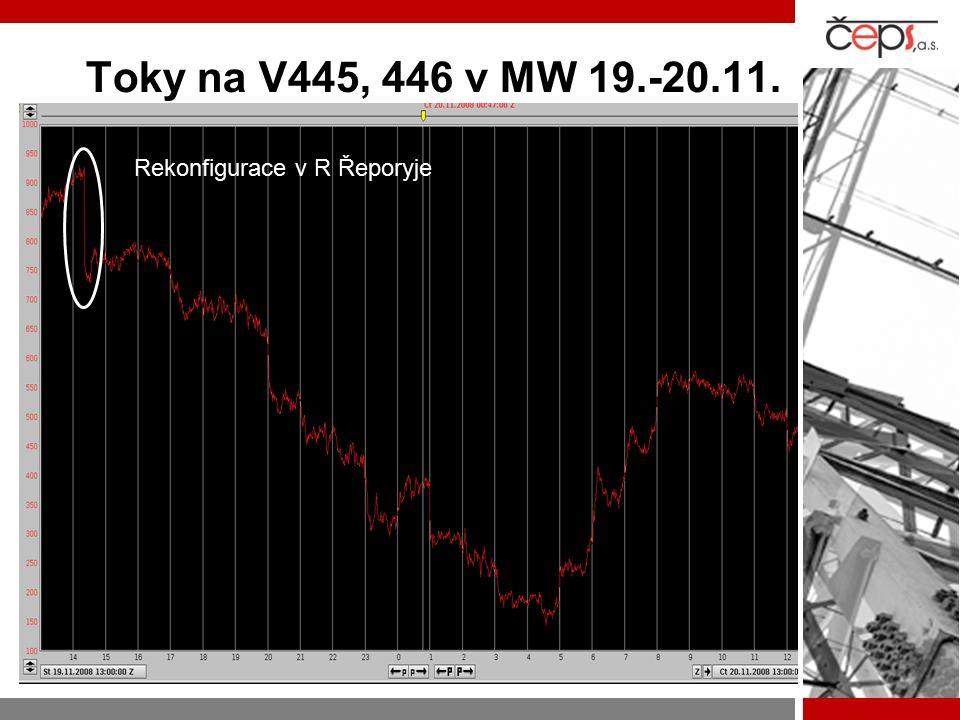 Toky na V445, 446 v MW 19.-20.11. Rekonfigurace v R Řeporyje