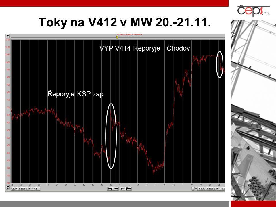 Toky na V412 v MW 20.-21.11. VYP V414 Reporyje - Chodov Řeporyje KSP zap.