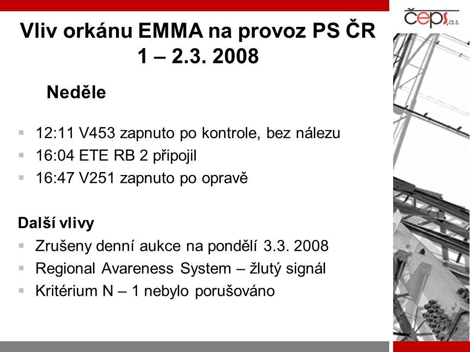 Vliv orkánu EMMA na provoz PS ČR 1 – 2.3. 2008  12:11 V453 zapnuto po kontrole, bez nálezu  16:04 ETE RB 2 připojil  16:47 V251 zapnuto po opravě D