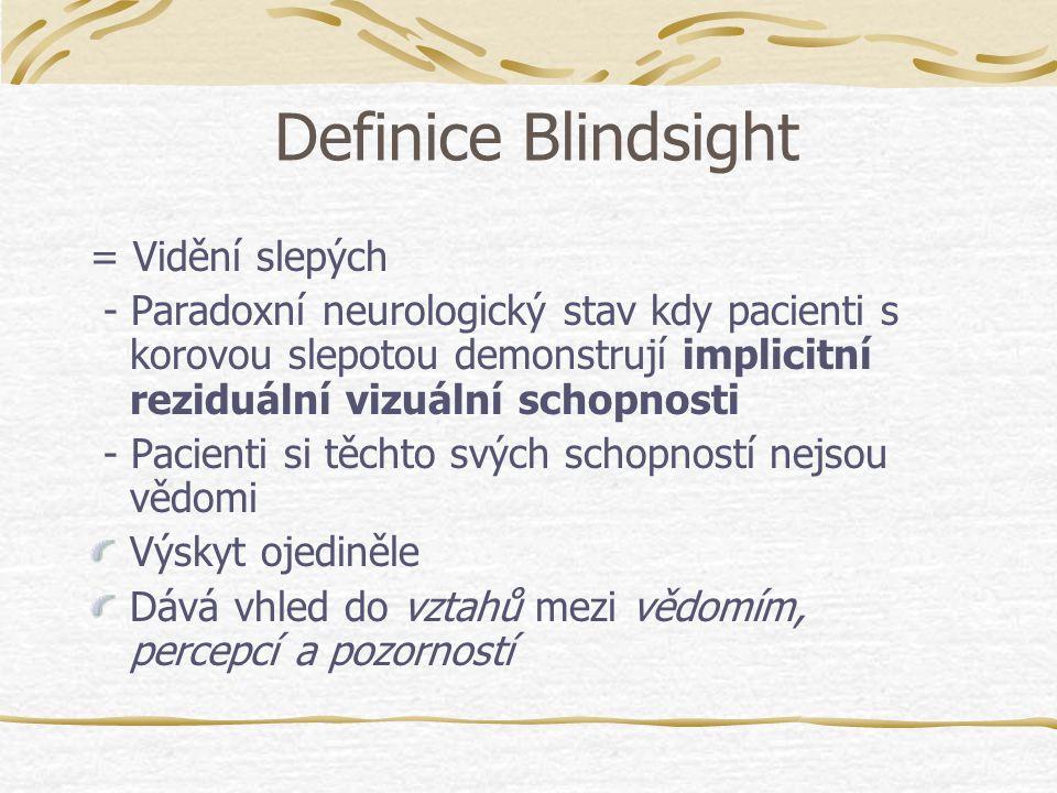 Historie Riddoch (1917) - popsal tento jev u vojáků s poraněním temenní kůry (Riddochův syndrom) Pöppel, Held, Frost (1973) - Vymezili novou metodologii zkoumání - Sledování očních pohybů pacientů s B.