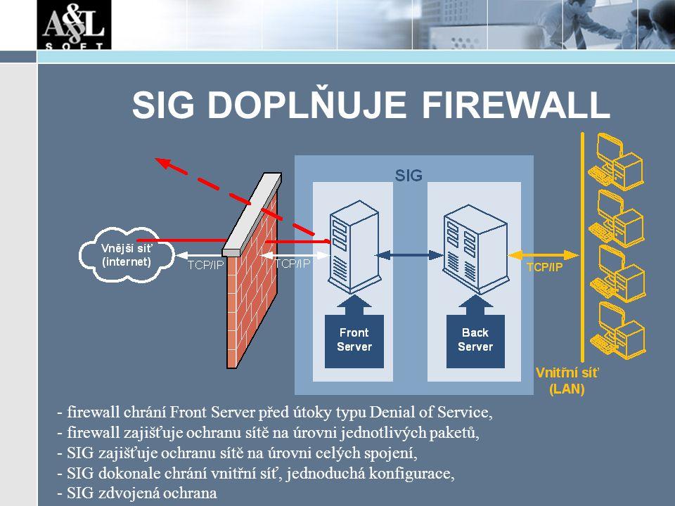 SIG DOPLŇUJE FIREWALL - firewall chrání Front Server před útoky typu Denial of Service, - firewall zajišťuje ochranu sítě na úrovni jednotlivých paketů, - SIG zajišťuje ochranu sítě na úrovni celých spojení, - SIG dokonale chrání vnitřní síť, jednoduchá konfigurace, - SIG zdvojená ochrana
