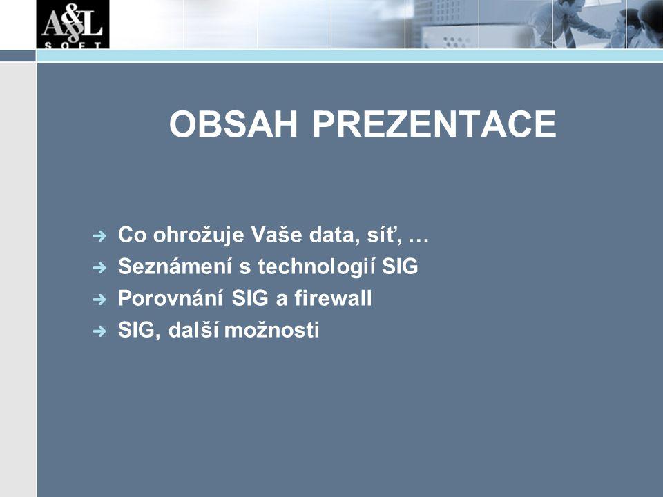 OBSAH PREZENTACE Co ohrožuje Vaše data, síť, … Seznámení s technologií SIG Porovnání SIG a firewall SIG, další možnosti