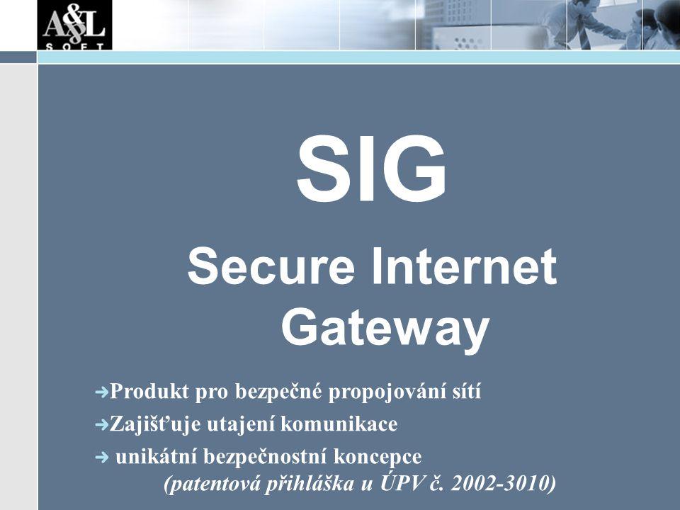 SIG Secure Internet Gateway Produkt pro bezpečné propojování sítí Zajišťuje utajení komunikace unikátní bezpečnostní koncepce (patentová přihláška u ÚPV č.