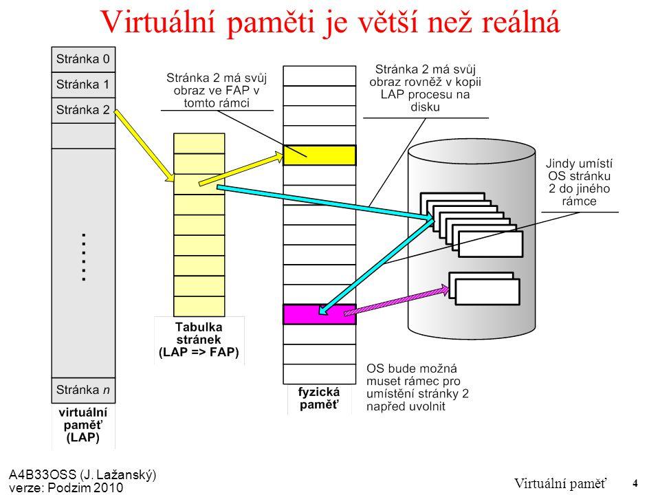 A4B33OSS (J. Lažanský) verze: Podzim 2010 Virtuální paměť 4 Virtuální paměti je větší než reálná
