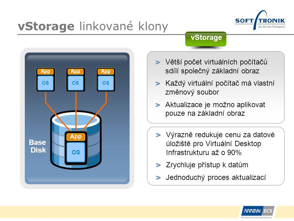 vStorage linkované klony Větší počet virtuálních počítačů sdílí společný základní obraz Každý virtuální počítač má vlastní změnový soubor Aktualizace