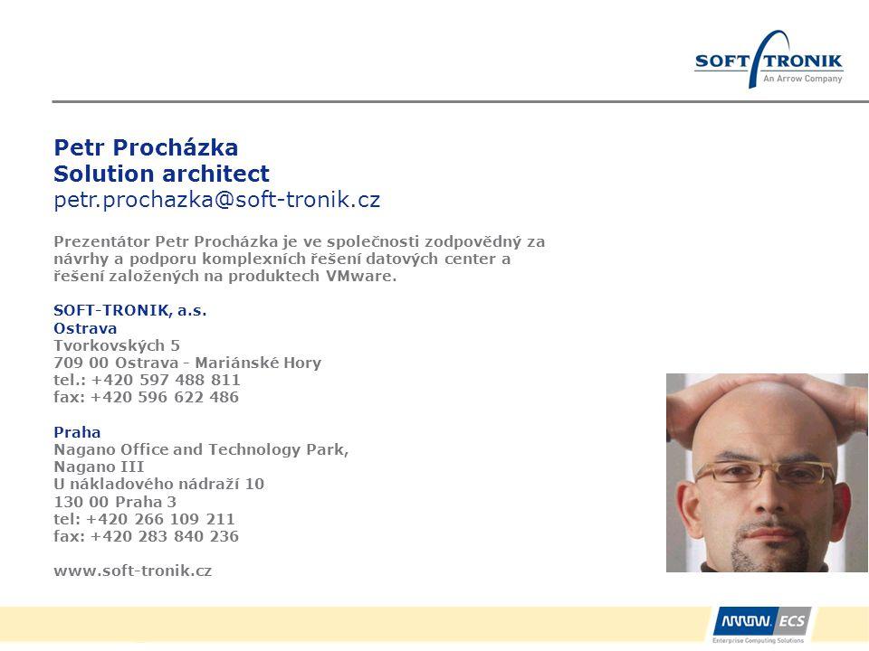 Petr Procházka Solution architect petr.prochazka@soft-tronik.cz Prezentátor Petr Procházka je ve společnosti zodpovědný za návrhy a podporu komplexníc