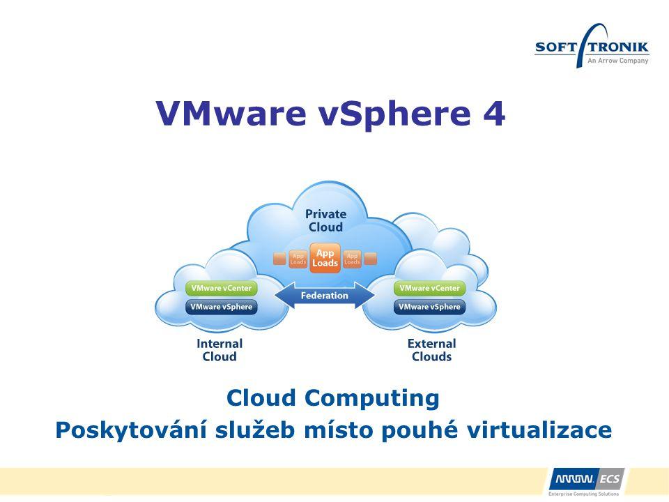 VMware vSphere 4 Cloud Computing Poskytování služeb místo pouhé virtualizace