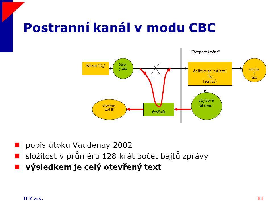 ICZ a.s.11 Postranní kanál v modu CBC