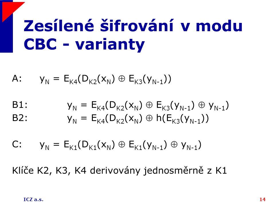 ICZ a.s.14 Zesílené šifrování v modu CBC - varianty A:y N = E K4 (D K2 (x N )  E K3 (y N-1 )) B1:y N = E K4 (D K2 (x N )  E K3 (y N-1 )  y N-1 ) B2