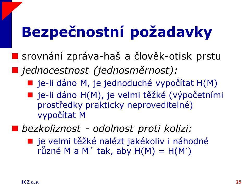 ICZ a.s.25 Bezpečnostní požadavky srovnání zpráva-haš a člověk-otisk prstu jednocestnost (jednosměrnost): je-li dáno M, je jednoduché vypočítat H(M) j