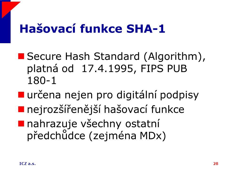 ICZ a.s.28 Hašovací funkce SHA-1 Secure Hash Standard (Algorithm), platná od 17.4.1995, FIPS PUB 180-1 určena nejen pro digitální podpisy nejrozšířeně