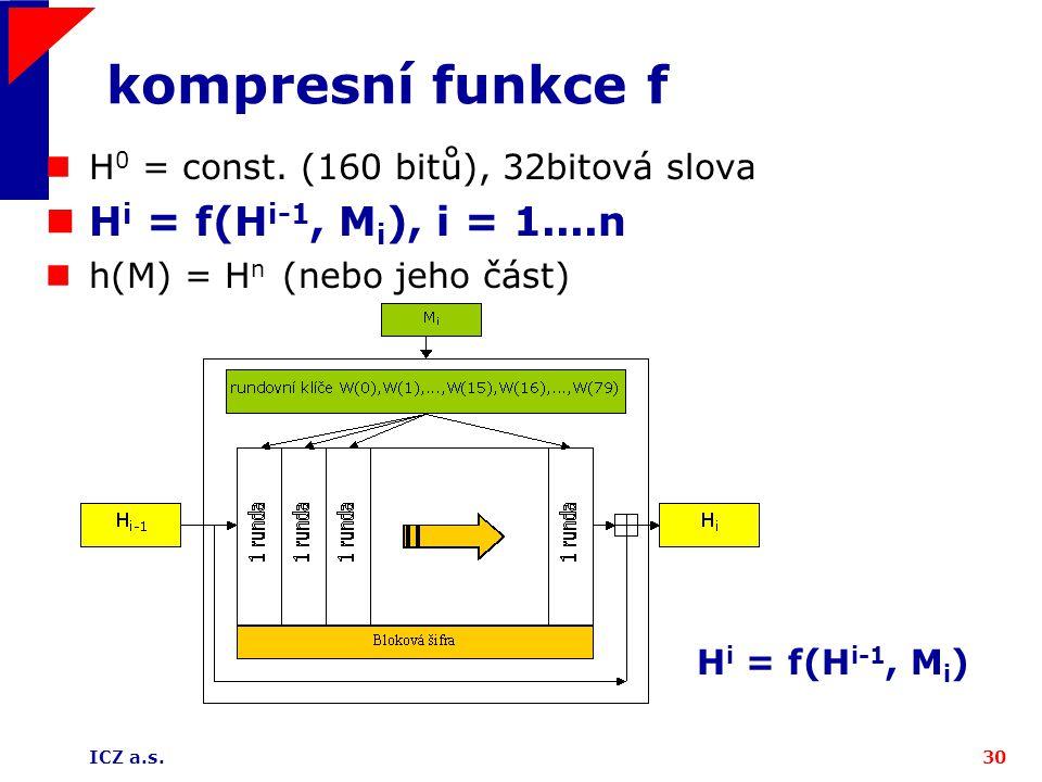 ICZ a.s.30 kompresní funkce f H i = f(H i-1, M i ) H 0 = const. (160 bitů), 32bitová slova H i = f(H i-1, M i ), i = 1....n h(M) = H n (nebo jeho část