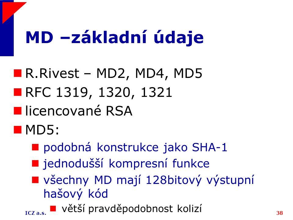 ICZ a.s.38 MD –základní údaje R.Rivest – MD2, MD4, MD5 RFC 1319, 1320, 1321 licencované RSA MD5: podobná konstrukce jako SHA-1 jednodušší kompresní fu