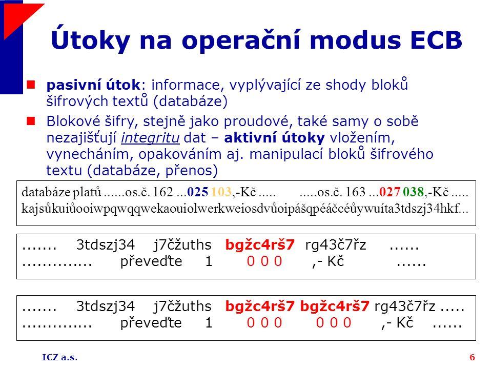 ICZ a.s.6 Útoky na operační modus ECB....... 3tdszj34 j7čžuths bgžc4rš7 rg43č7řz.................... převeďte 1 0 0 0,- Kč............. 3tdszj34 j7čžu