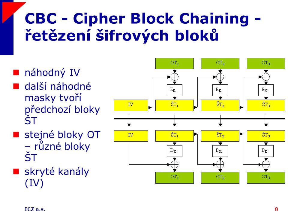 ICZ a.s.8 CBC - Cipher Block Chaining - řetězení šifrových bloků náhodný IV další náhodné masky tvoří předchozí bloky ŠT stejné bloky OT – různé bloky