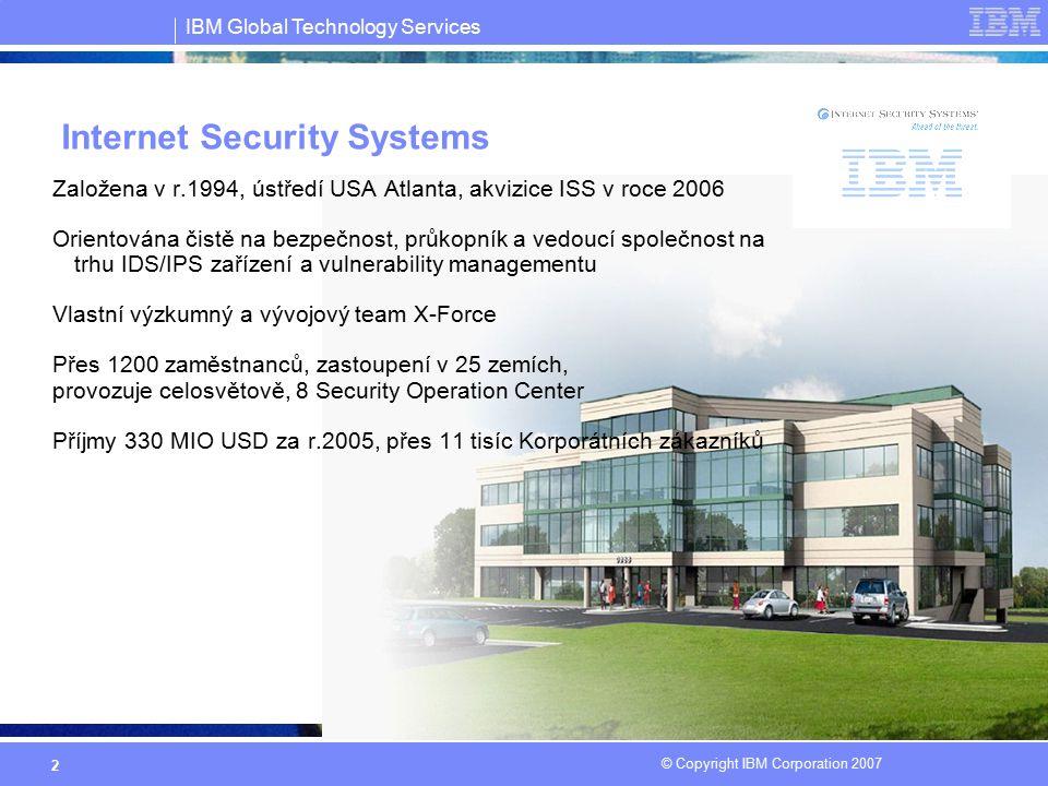 IBM Global Technology Services © Copyright IBM Corporation 2007 3 X-Force výzkumný a vývojový team IBM Internet Security Systems X-Force ® R&D tým: Přední světová bezpečnostní organizace, Založena v roce 1997 Nejstarší a nejznámější komerční výzkumná skupina zaměřená na detekci zranitelností a vyhledávání bezpečnostních slabin X-Force stojí za objevením více než 50% všech významných slabin v OS a aplikacích.