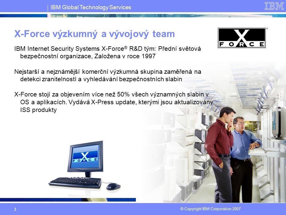 IBM Global Technology Services © Copyright IBM Corporation 2007 14 Serverová ochrana - 3 produktové řady oProventia Server for Windows oRealSecure Server Sensor Široká podpora platforem: Windows, Linux, Unix platforms (AIX, HP-UX and Solaris) Ochrana serveru před známými i neznámými útoky oMožnost kotroly šifrovaného SSL spojení oOchrana před Buffer overflow útoky oŘízení přístupu k serveru dle nastavené politiky, možnost vynucení politiky oPersonální firewall oKontrola integrity registrů, souborů, auditování OS oLogování podezřelých aktivit a kontrola shody s nastavenou politikou