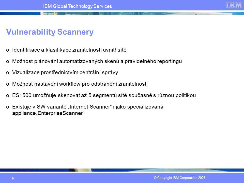 IBM Global Technology Services © Copyright IBM Corporation 2007 17 SiteProtector SP 1001 Appliance Připraveno k nasazení do stávající infrastruktury, bez nutnosti pořizovat další HW,SW HW specifikace: 2U rack, CPU Dual Xeon 2.8 GHz, RAM 4 GB, Disk Space Dual 74 GB Windows Server 2003, Database SQL Server 2005, Quarterly OS Security Updates, Server protection Proventia Server for Windows Umožňuje zpracování až 1mil.