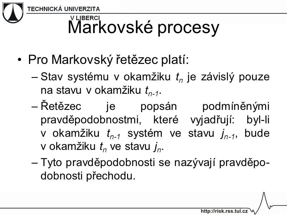 Markovské procesy Pro Markovský řetězec platí: –Stav systému v okamžiku t n je závislý pouze na stavu v okamžiku t n-1. –Řetězec je popsán podmíněnými