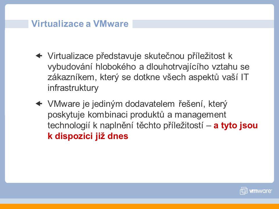  Virtualizace představuje skutečnou příležitost k vybudování hlobokého a dlouhotrvajícího vztahu se zákazníkem, který se dotkne všech aspektů vaší IT infrastruktury  VMware je jediným dodavatelem řešení, který poskytuje kombinaci produktů a management technologií k naplnění těchto příležitostí – a tyto jsou k dispozici již dnes Virtualizace a VMware