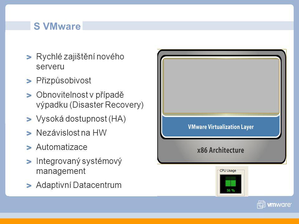 S VMware Rychlé zajištění nového serveru Přizpůsobivost Obnovitelnost v případě výpadku (Disaster Recovery) Vysoká dostupnost (HA) Nezávislost na HW Automatizace Integrovaný systémový management Adaptivní Datacentrum