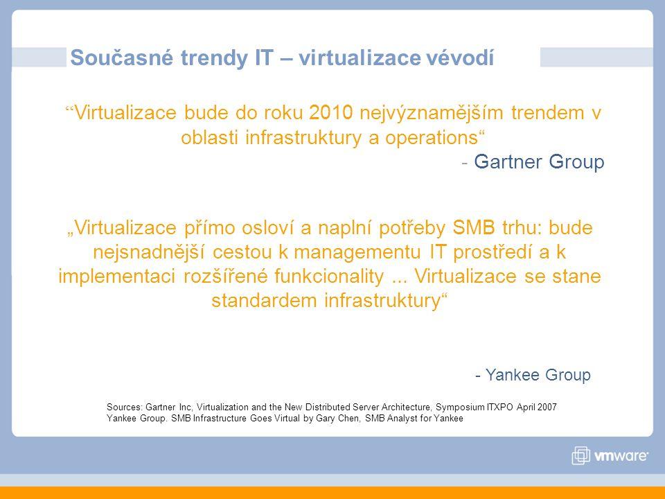 """Virtualizace bude do roku 2010 nejvýznamějším trendem v oblasti infrastruktury a operations - Gartner Group Současné trendy IT – virtualizace vévodí """"Virtualizace přímo osloví a naplní potřeby SMB trhu: bude nejsnadnější cestou k managementu IT prostředí a k implementaci rozšířené funkcionality..."""