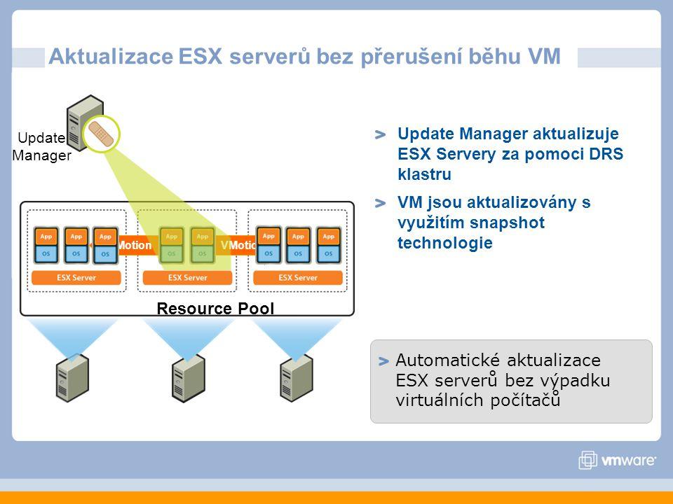 Aktualizace ESX serverů bez přerušení běhu VM Automatické aktualizace ESX serverů bez výpadku virtuálních počítačů Update Manager aktualizuje ESX Servery za pomoci DRS klastru VM jsou aktualizovány s využitím snapshot technologie Resource Pool Update Manager VMotion
