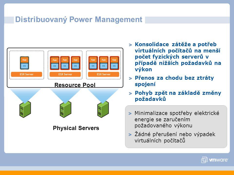 Distribuovaný Power Management Konsolidace zátěže a potřeb virtuálních počítačů na menší počet fyzických serverů v případě nižších požadavků na výkon Přenos za chodu bez ztráty spojení Pohyb zpět na základě změny požadavků Minimalizace spotřeby elektrické energie se zaručením požadovaného výkonu Žádné přerušení nebo výpadek virtuálních počítačů Resource Pool Physical Servers