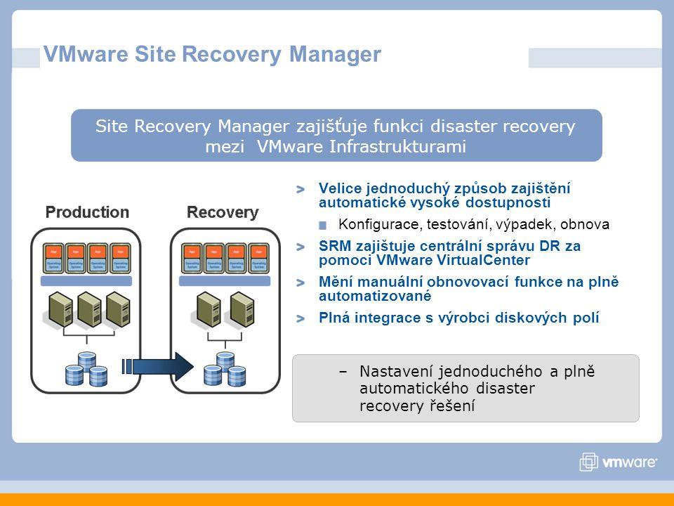 Velice jednoduchý způsob zajištění automatické vysoké dostupnosti Konfigurace, testování, výpadek, obnova SRM zajištuje centrální správu DR za pomoci VMware VirtualCenter Mění manuální obnovovací funkce na plně automatizované Plná integrace s výrobci diskových polí VMware Site Recovery Manager Site Recovery Manager zajišťuje funkci disaster recovery mezi VMware Infrastrukturami –Nastavení jednoduchého a plně automatického disaster recovery řešení