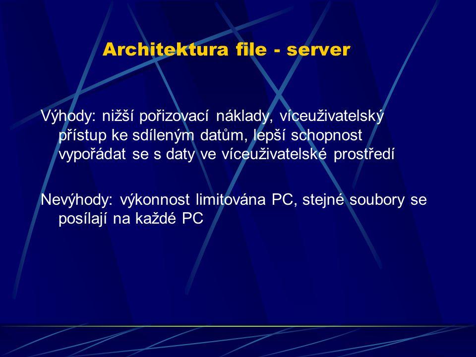 Výhody: nižší pořizovací náklady, víceuživatelský přístup ke sdíleným datům, lepší schopnost vypořádat se s daty ve víceuživatelské prostředí Nevýhody: výkonnost limitována PC, stejné soubory se posílají na každé PC Architektura file - server
