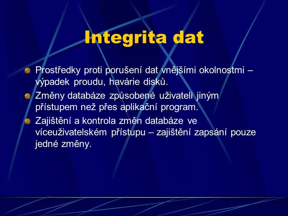 Integrita dat Prostředky proti porušení dat vnějšími okolnostmi – výpadek proudu, havárie disků. Změny databáze způsobené uživateli jiným přístupem ne