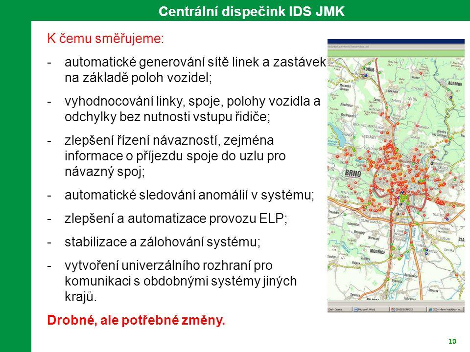 10 K čemu směřujeme: -automatické generování sítě linek a zastávek na základě poloh vozidel; -vyhodnocování linky, spoje, polohy vozidla a odchylky be
