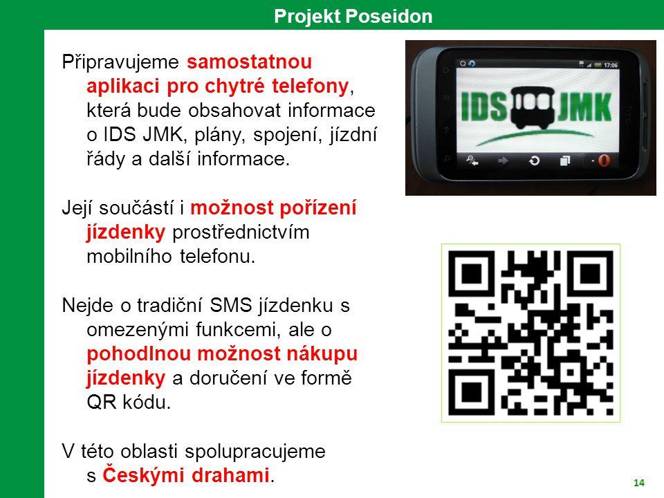 14 Projekt Poseidon Připravujeme samostatnou aplikaci pro chytré telefony, která bude obsahovat informace o IDS JMK, plány, spojení, jízdní řády a dal