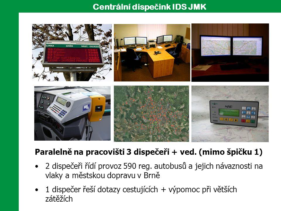 5 Paralelně na pracovišti 3 dispečeři + ved. (mimo špičku 1) 2 dispečeři řídí provoz 590 reg. autobusů a jejich návaznosti na vlaky a městskou dopravu