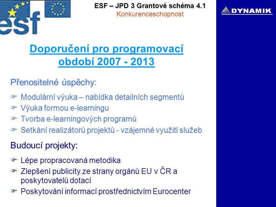 ESF – JPD 3 Grantové schéma 4.1 Konkurenceschopnost Doporučení pro programovací období 2007 - 2013 Přenositelné úspěchy:  Modulární výuka – nabídka detailních segmentů  Výuka formou e-learningu  Tvorba e-learningových programů  Setkání realizátorů projektů - vzájemné využití služeb Budoucí projekty:  Lépe propracovaná metodika  Zlepšení publicity ze strany orgánů EU v ČR a poskytovatelů dotací  Poskytování informací prostřednictvím Eurocenter