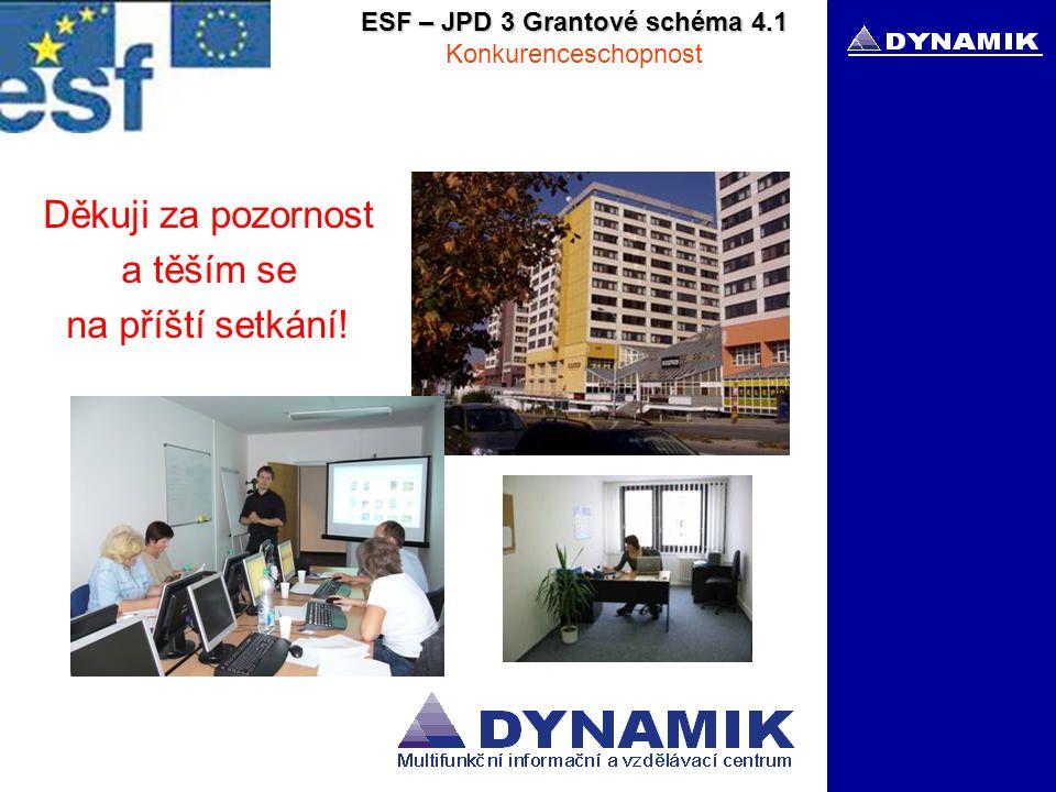 ESF – JPD 3 Grantové schéma 4.1 Konkurenceschopnost Děkuji za pozornost a těším se na příští setkání!