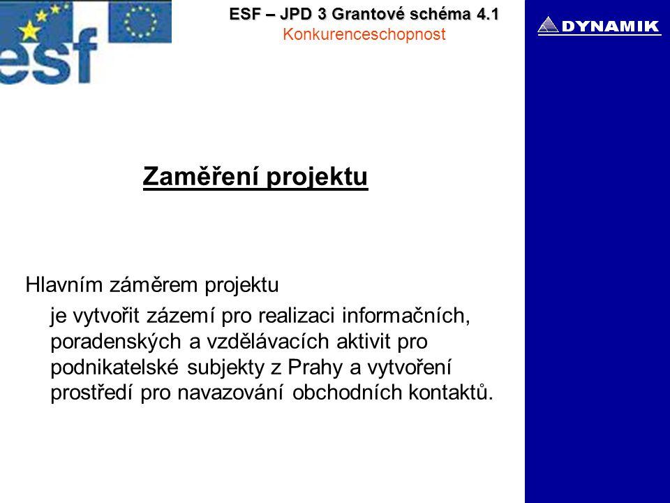 ESF – JPD 3 Grantové schéma 4.1 Konkurenceschopnost Zaměření projektu Hlavním záměrem projektu je vytvořit zázemí pro realizaci informačních, poradenských a vzdělávacích aktivit pro podnikatelské subjekty z Prahy a vytvoření prostředí pro navazování obchodních kontaktů.