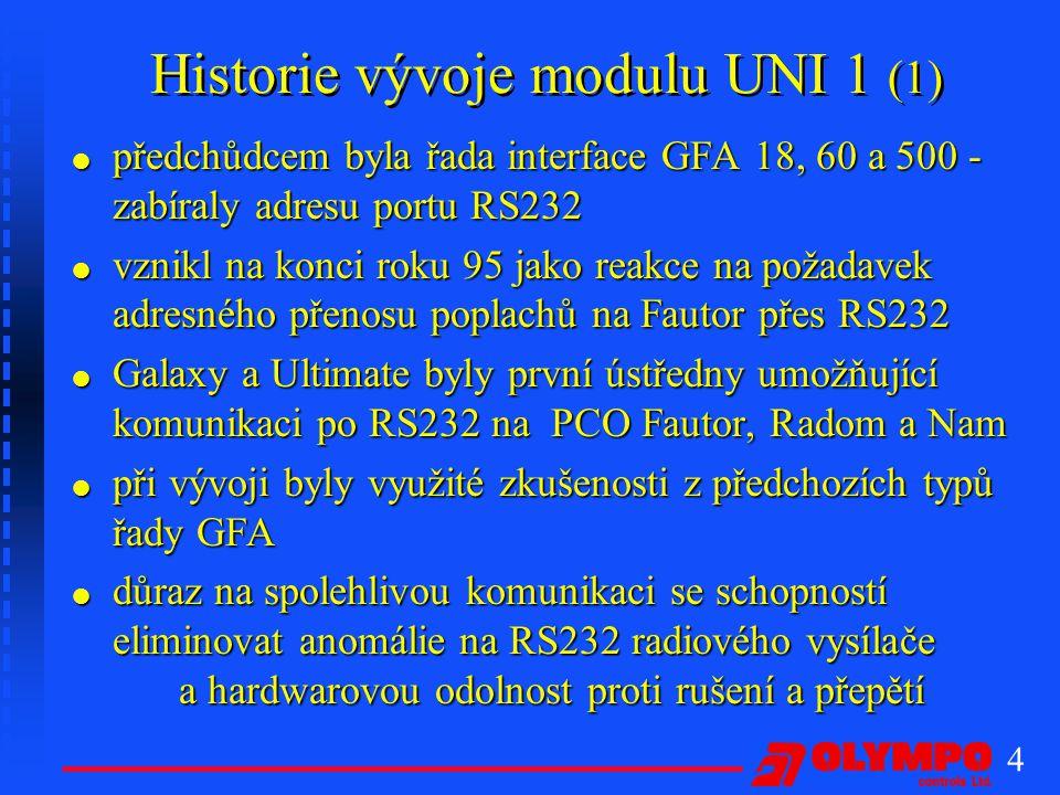 5 Historie vývoje modulu UNI 1 (2) l postupně bylo vyvinuto další příslušenství l vyvinut program UNIKONF a UNIKONF98 umožňující pružné přiřazování kódů událostem, diagnostiku, tisk a další l proběhlo několik zdokonalení systému v podobě různých softwarových verzí (poslední verze 2.0/V) l systém osvědčený více jak tříletým provozem l nasazeno více než 1500 kusů po celém území ČR UNI1 vytvořil standard v komunikaci s bezdrátovými PCO s adresným přenosem poplachů po RS232