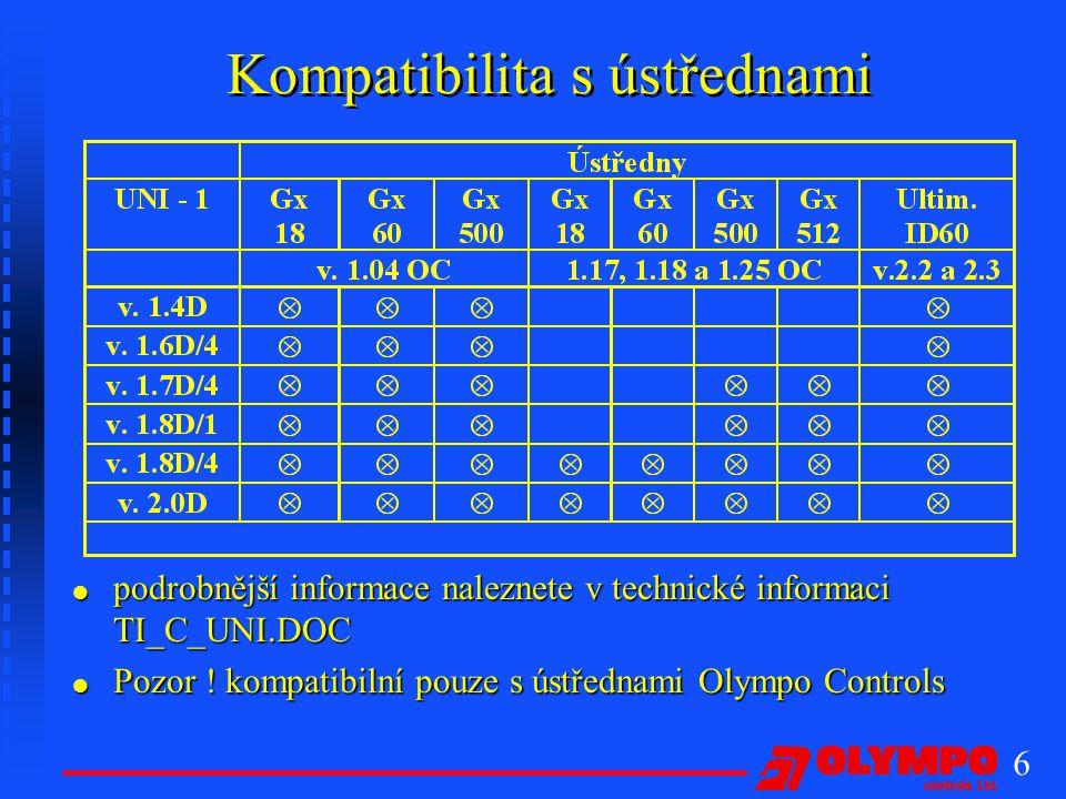 6 Kompatibilita s ústřednami l podrobnější informace naleznete v technické informaci TI_C_UNI.DOC l Pozor .