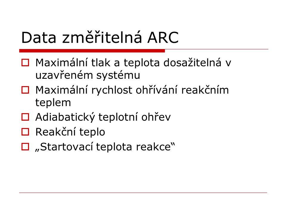 """Data změřitelná ARC  Maximální tlak a teplota dosažitelná v uzavřeném systému  Maximální rychlost ohřívání reakčním teplem  Adiabatický teplotní ohřev  Reakční teplo  """"Startovací teplota reakce"""