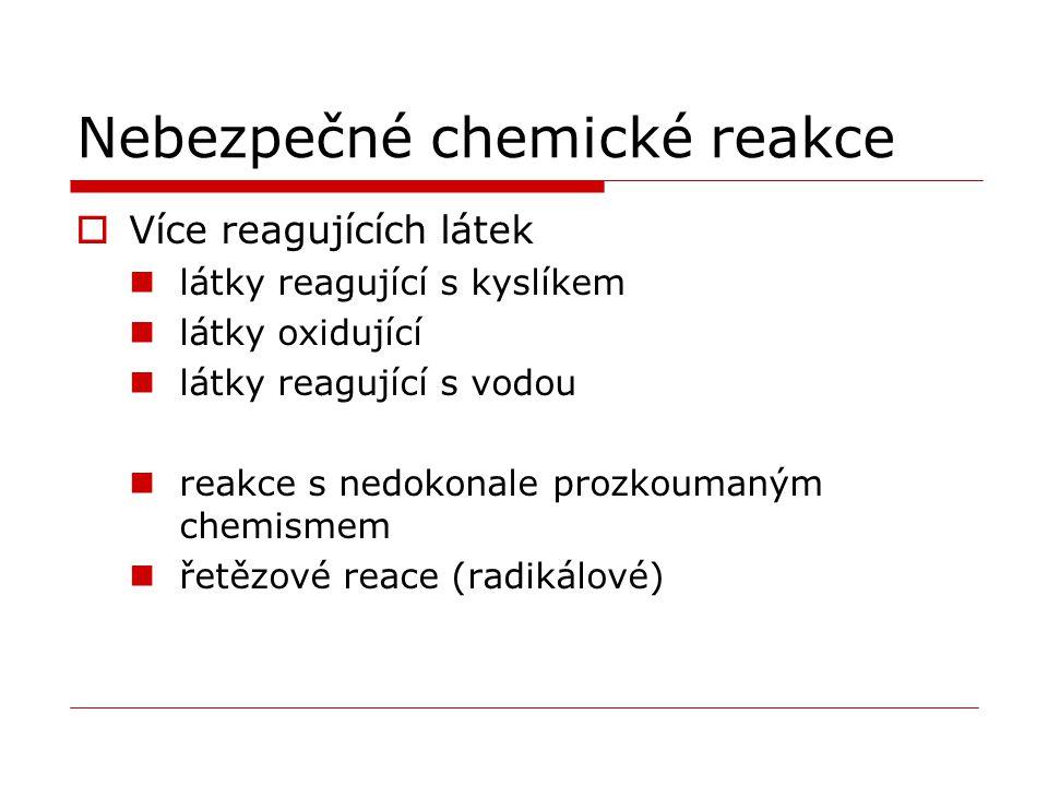 Nebezpečné chemické reakce  Více reagujících látek látky reagující s kyslíkem látky oxidující látky reagující s vodou reakce s nedokonale prozkoumaným chemismem řetězové reace (radikálové)