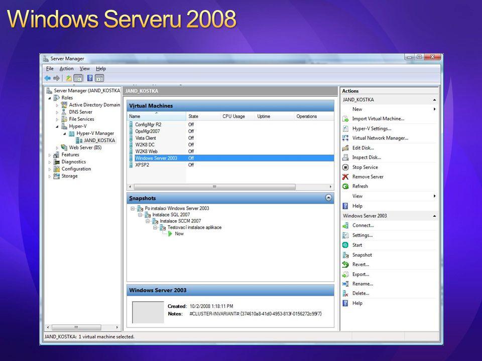 Centralizovaná správa fyzického prostředí (hosts) Centralizovaná správa a nasazení virtuálních strojů Microsoft Virtual Server Hyper-V VMware ESX (Virtual Center) Rychlá konverze P2V a V2V Performance and Resource Optmization (PRO) of VMs Centrální knihovna Delegovaná správa virtuálních strojů Plně skriptovatelné prostředí pomocí PowerShell 2008