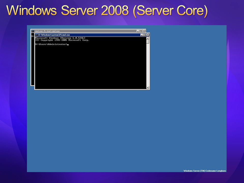 Instalační průvodce Windows Server 2008, zvolíme Server Core installation