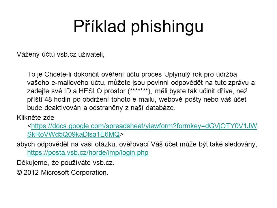 Příklad phishingu Vážený účtu vsb.cz uživateli, To je Chcete-li dokončit ověření účtu proces Uplynulý rok pro údržba vašeho e-mailového účtu, můžete jsou povinni odpovědět na tuto zprávu a zadejte své ID a HESLO prostor (*******), měli byste tak učinit dříve, než příští 48 hodin po obdržení tohoto e-mailu, webové pošty nebo váš účet bude deaktivován a odstraněny z naší databáze.