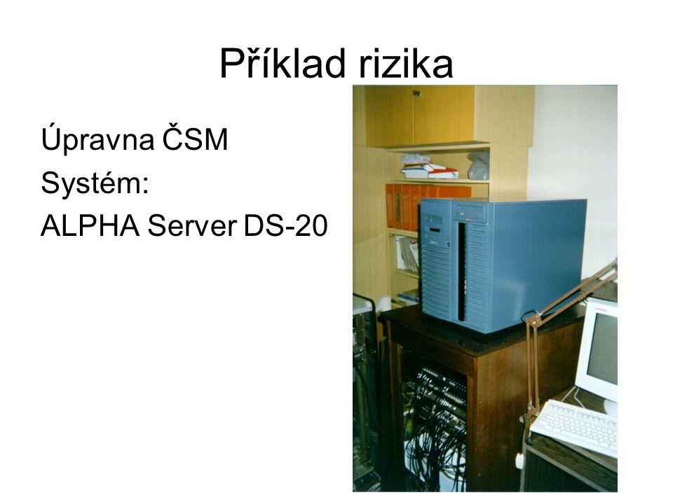 Příklad rizika Úpravna ČSM Systém: ALPHA Server DS-20