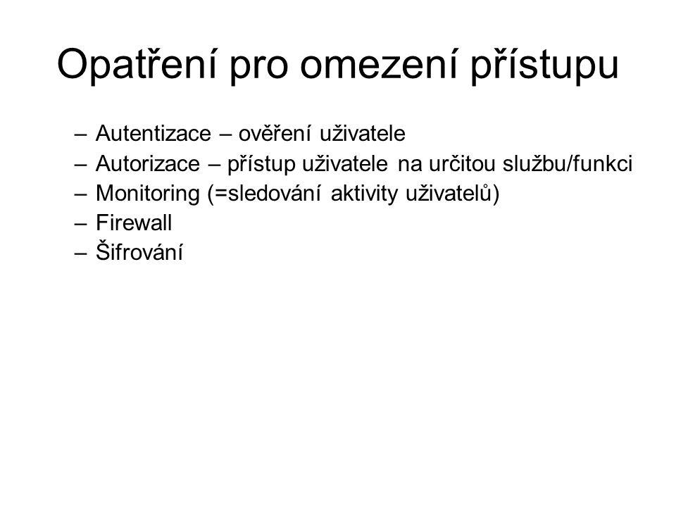 Opatření pro omezení přístupu –Autentizace – ověření uživatele –Autorizace – přístup uživatele na určitou službu/funkci –Monitoring (=sledování aktivity uživatelů) –Firewall –Šifrování